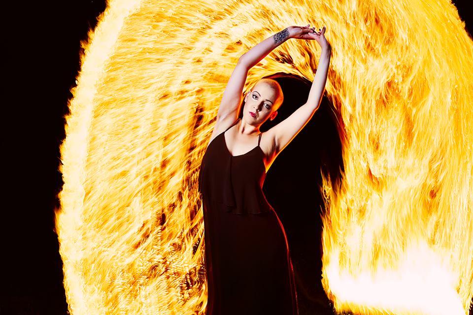 Portrait with fireshow