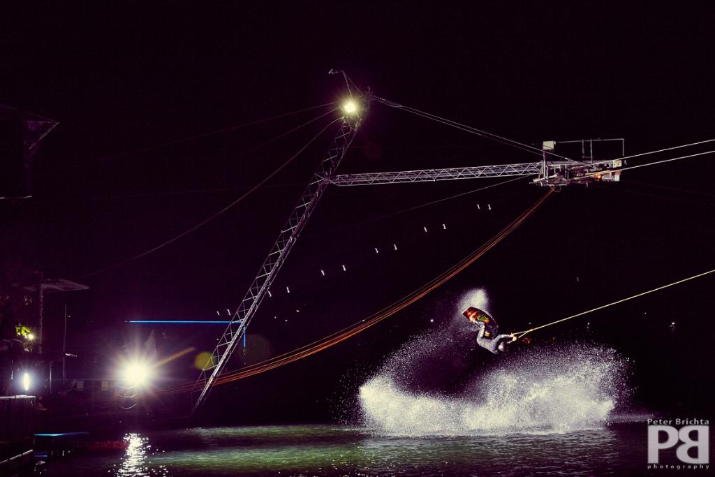 wakeboarding in dark