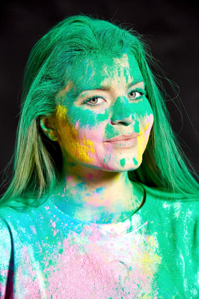 portrait with holi colours