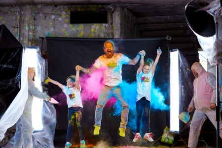 shooting with holi colours